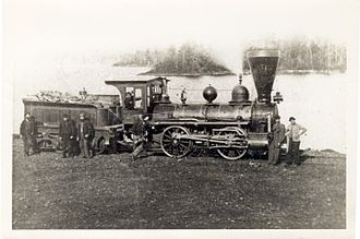 Cobourg and Peterborough Railway - A locomotive on the Blairton Extension of the Cobourg and Peterborough Railway circa 1870.