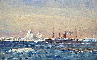 View of Steamship Carpathia Passing along the Edge of the Ice Flow after Rescuing Survivors of the Titanic