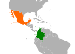 Map indicating locations of Colombia and Mexico