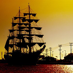 Sailing ship - ARC ''Gloria'', a three-masted barque and Colombian Navy training ship, at sunset in Cartagena