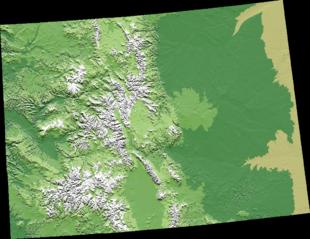 Modello digitale dell'orografia del Colorado, si noti come la metà orientale sia assolutamente pianeggiante