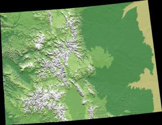 Geography of Colorado - A digital elevation model relief map of Colorado.