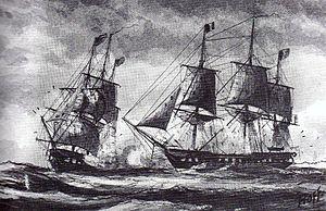 Quasi-War - Image: Combat naval pendant la quasi guerre
