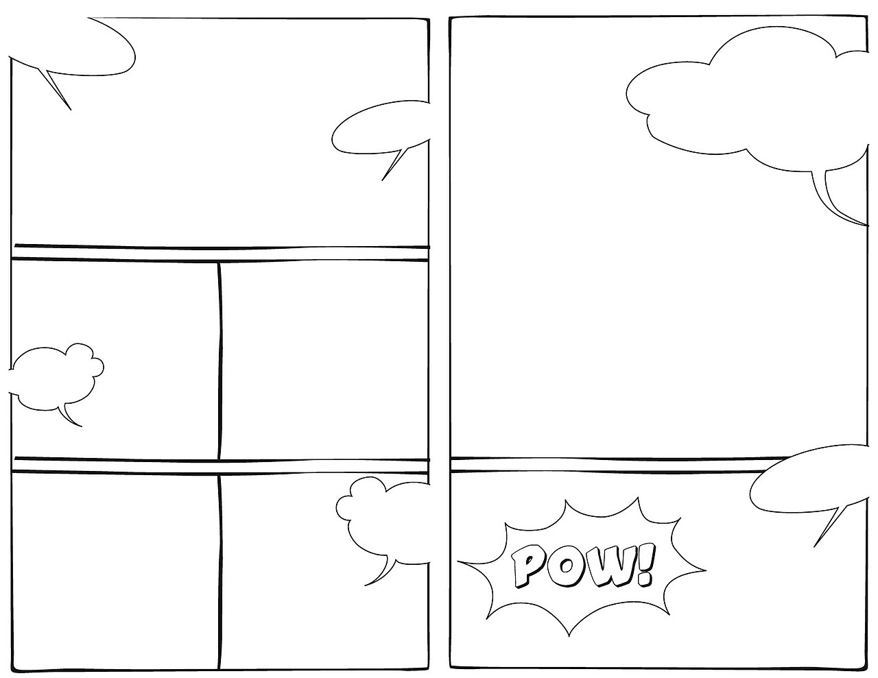 Superhero comic strip template comic strip template for Comic strip bubble template
