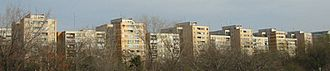 Systematization (Romania) - The skyline of many cities became dominated by standardised apartment blocks, like this row in Bucharest