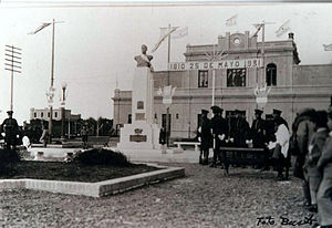 Comodoro Rivadavia Railway - May Revolution celebrations in Comodoro station, 25 May 1931.