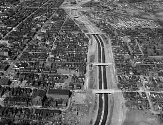 Richmond–Petersburg Turnpike - The Richmond-Petersburg turnpike under construction, as it passes through Jackson Ward.