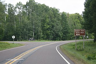 Copper Falls State Park - Image: Copper Falls State Park Entrance Sign WIS169
