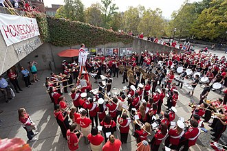 Cornell Big Red Marching Band - The band plays in Ho Plaza during Homecoming 2017