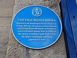 Photo of Cottage Road Cinema, Leeds blue plaque