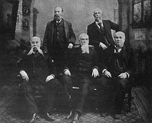United States Court of Private Land Claims - Justices for the United States Court of Private Land Claims (1891-1904). Pictured (l-r) Thomas C. Fuller, Wilbur F. Stone, Chief Justice Joseph R. Reed, Henry C. Sluss, and William W. Murray