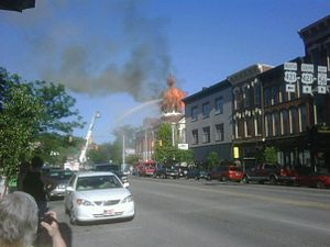 Madison, Indiana - The Jefferson County Courthouse dome engulfed in flames.
