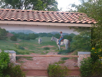 "Bandera, Texas - Outdoor mural reflects the theme of Bandera as the ""Cowboy Capital of the World"""