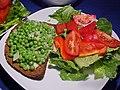 Creamed peas on toast (2059450482).jpg