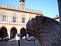 Cremona, sculpture at duomo and city hall.jpg