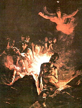 Cristóbal Rojas (artist) - Rojas' El Purgatorio, a depiction of purgatory, painted shortly before his death in 1890. 339 x 256 cm.