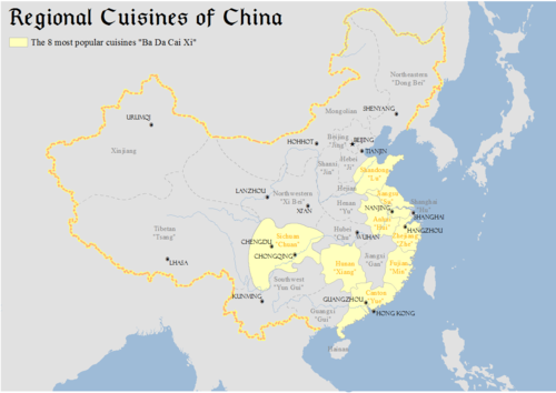 Map showing major regional cuisines of China