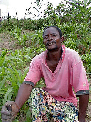 Democratic Republic of the Congo cuisine - A Congolese farmer with his crops.