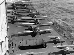 Curtiss F6C and Martin T3m on deck of USS Lexington (CV-2), 1928.jpg