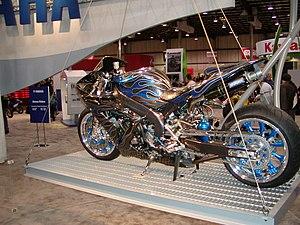 Custom motorcycle - A customized Yamaha with a nitrous oxide tank.
