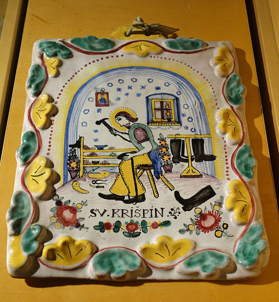 File:Czech plaque depicting St. Crispin in his workshop, 1941 - Bata Shoe Museum - DSC00288.JPG