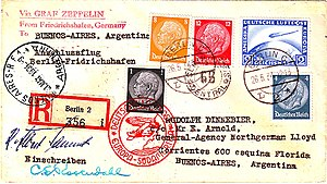 Franking - Postally franked German Air Mail cover (Berlin-Buenos Aires via D-LZ127 ''Graf Zeppelin'' (1934))