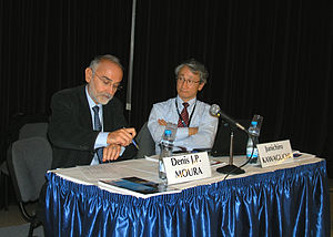 Hayabusa - Denis J. P. Moura (left) and Junichiro Kawaguchi (right) at the 2010 International Astronautical Congress (IAC)