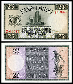 25 Danzig gulden note of 1931 depicting St. Mary's Church