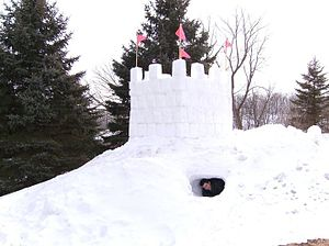 Snow fort - A two-story snow fort