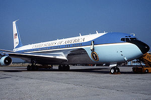 Boeing C-137 Stratoliner - VC-137C SAM 27000 (Air Force One) parked on the tarmac at the Venice Marco Polo Airport, Italy in 1987