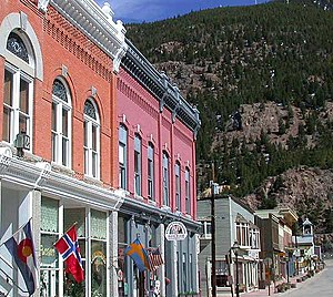 Georgetown, Colorado - View west along Sixth Street in downtown Georgetown, with the historic Masonic Temple in the foreground.