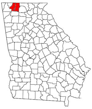 Dalton metropolitan area, Georgia - Location of the Dalton Metropolitan Statistical Area in Georgia