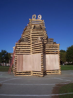 Dartmouth College traditions - The Class of 2009's bonfire on the afternoon before Dartmouth Night.