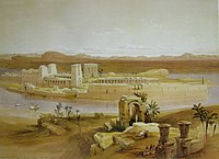 Painting of an island seen from across a river channel. On the island stand a series of stone buildings, gateways, and colonnades.
