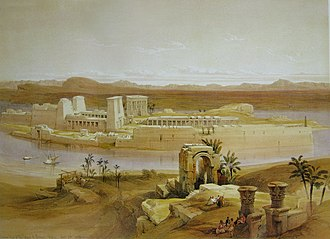 Bigeh - Bigeh (foreground) and Philae with temple, in the First Cataract of the Nile River. (1838 painting).