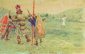 Goliath - Goliath laughs at David, 1915, by Ilya Repin
