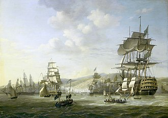 Mediterranean Sea - The bombardment of Algiers by the Anglo-Dutch fleet in support of an ultimatum to release European slaves, August 1816