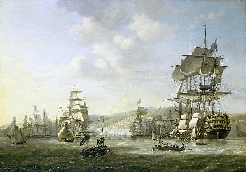 De Engels-Nederlandse vloot in de Baai van Algiers ter ondersteuning van het ultimatum tot vrijlating van blanke slaven, 26 augustus 1816. Rijksmuseum SK-A-1377.jpeg