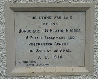 Postmaster-General (New Zealand) - Foundation stone on the former Akaroa Post Office, commemorating Heaton Rhodes as Postmaster-General