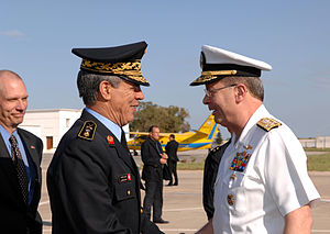Tunisian Armed Forces - Admiral Edmund P. Giambastiani (right), Vice Chairman of the Joint Chiefs of Staff, meets Brigadier General Mahmoud Ben M'hamed, Tunisian Air Force Chief of Staff, at the Carthage Airport in Tunis, Tunisia, May 4, 2007.