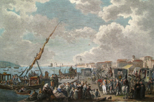 Painting shows crowds of people dressed in early 1800s clothing getting off horse-drawn carriages near the sea.