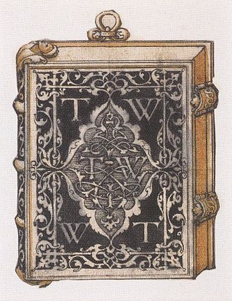 Book design - Design for a metalwork book cover or treasure binding, by Hans Holbein the Younger