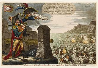 Gravure en couleurs, représentant à gauche et au premier plan deux personnages en haut d'une fortification équipée de deux canons et sur laquelle flotte un drapeau rouge à tête de mort. L'un, petit et maigre, coiffé d'un bicorne à trois plumes tricolores, regarde à travers un rouleau de papier vers la droite, et prononce des paroles en anglais visibles dans une bulle. Il est jugé sur l'autre, personnage plus imposant, souriant, à cape rouge et bicorne. Au centre, sur la mer déchainée, coule au premier plan une dizaine de bateaux bombardés par une dizaine d'autres bateaux au second plan. À droite au loin, des falaises sur lesquelles flottent un drapeau anglais : blanc à croix de Saint-George rouge.