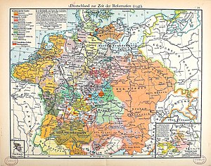 The Holy Roman Empire during the 16th century Deutschland im XVI. Jahrhundert (Putzger).jpg