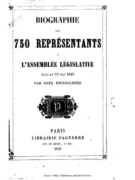 File:Deux journalistes - Biographie des 750 représentants à l'Assemblée législative, élus le 13 mai 1849.djvu