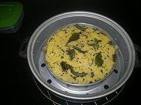 Dhokla prepared at home, Gurgaon, India.jpg