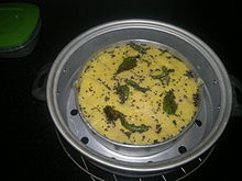 Dhokla prepared at home, Gurgaon, India.jpg