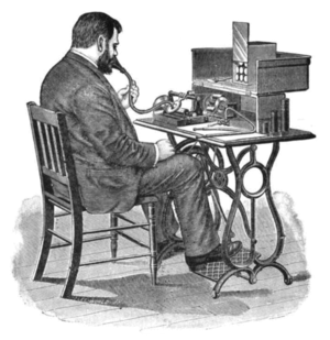 Treadle - Dictation using a treadle-powered cylinder phonograph, circa 1897