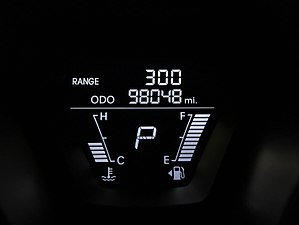 Fuel gauge - The digital fuel gauge in a 2012 Hyundai Elantra showing a full tank along with a distance to empty display.