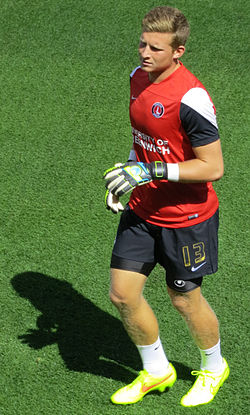 Dillon Phillips warming up prior to the away game against Brentford in 2014.jpg